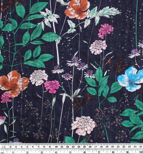 Floral Rayon Cotton Voile - Navy | Blackbird Fabrics