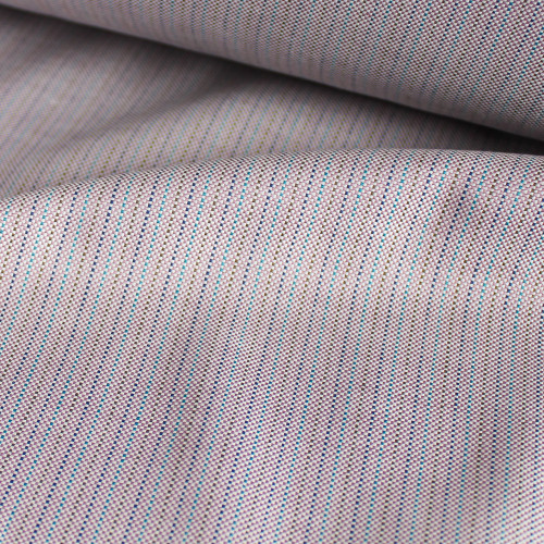 Multicoloured Micro Stripe Cotton Shirting - Dusty Lilac   Blackbird Fabrics