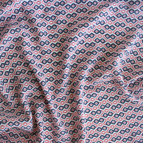 Diamond Dots Polyester Crepe - White/Red - 1/2 meter