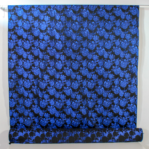 Floral Brocade - Black/Royal | Blackbird Fabrics