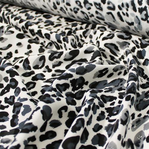 Animal Print Viscose Challis - White/Black/Grey - 1/2 meter