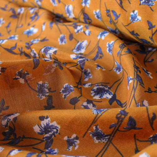 Floral Cotton & Silk Voile - Ochre/Blue/White | Blackbird Fabrics