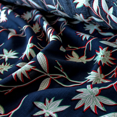 Floral Lightweight Viscose Poplin - Navy/Red/Green - 1/2 meter
