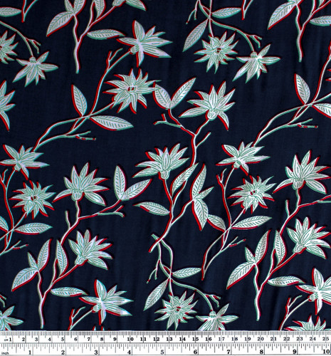 Floral Lightweight Viscose Poplin - Navy/Red/Green | Blackbird Fabrics