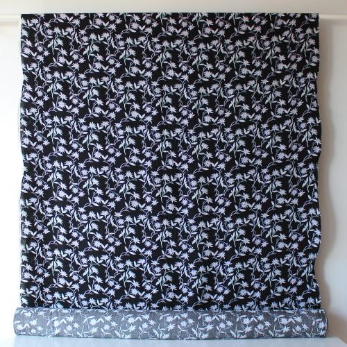 Floral Lightweight Viscose Poplin - Black/Purple/White - 1/2 meter
