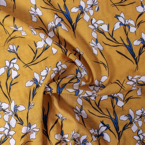 Floral Rayon Cotton Voile - Mustard/Blue/White | Blackbird Fabrics