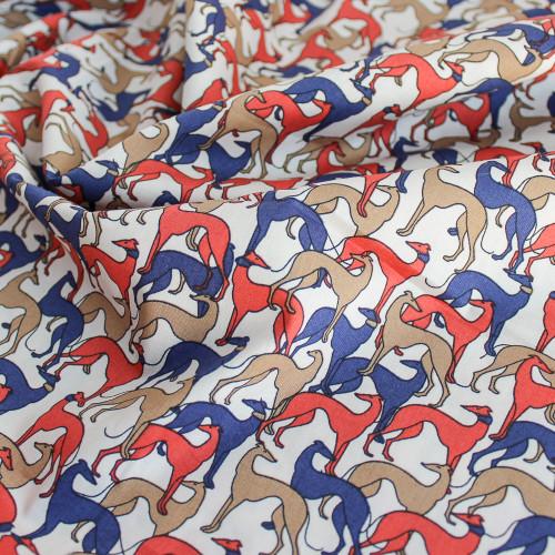 Greyhound Print Stretch Cotton Shirting - Multicolour | Blackbird Fabrics