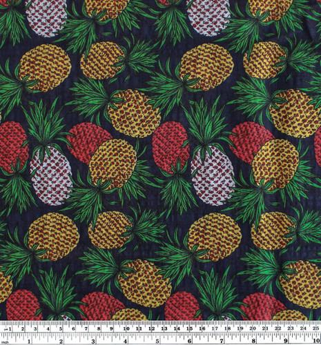 Pineapple Rayon Cotton Voile - Navy/Muticolour | Blackbird Fabrics