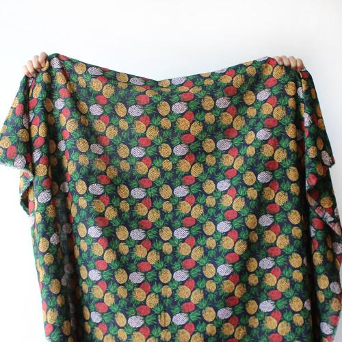 Pineapple Rayon Cotton Voile - Navy/Multicolour | Blackbird Fabrics