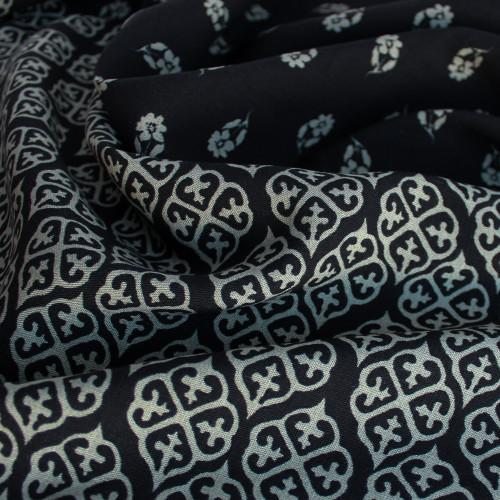Floral Border Print Rayon Slub - Black/Sage | Blackbird Fabrics