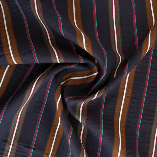 Multi-Stripe Rayon Cotton Voile - Navy | Blackbird Fabrics