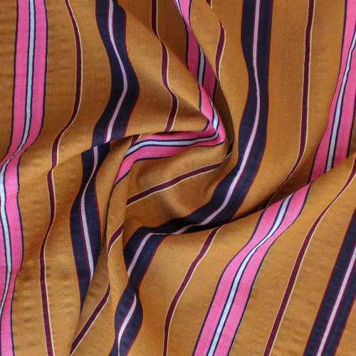 Multi-Stripe Rayon Cotton Voile - Ochre   Blackbird Fabrics