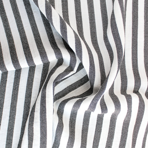 Striped Rayon Blend Slub - Black/White | Blackbird Fabrics