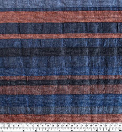 Double Cloth Striped Linen Blend - Navy/Copper | Blackbird Fabrics