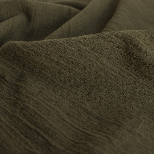 Textured Cotton Linen Jacquard - Olive - 1/2 meter