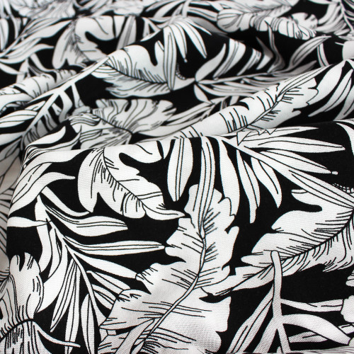 Leaves Print Viscose Challis - Black/White   Blackbird Fabrics