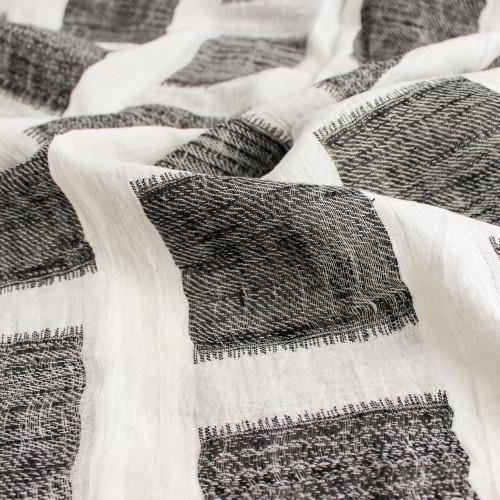 Cotton & Linen Jacquard - Ivory/Black - 1/2 meter
