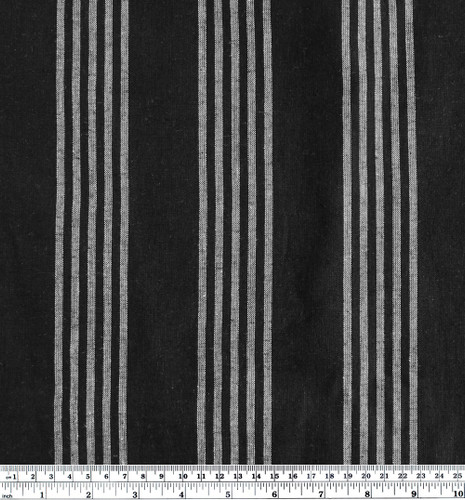 Striped Cotton & Linen - Black | Blackbird Fabrics
