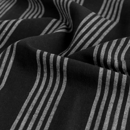 Striped Linen & Cotton Blend - Black - 1/2 meter