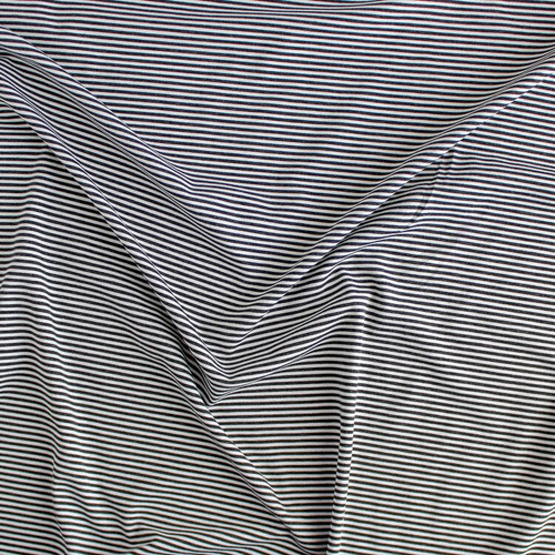 Micro Striped Bamboo & Organic Cotton Jersey Knit - Charcoal/White | Blackbird Fabrics