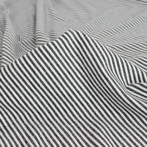 Micro Striped Bamboo & Organic Cotton Jersey Knit - Charcoal/White - 1/2 meter
