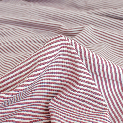 Micro Striped Bamboo & Organic Cotton Jersey Knit - Mauve/White | Blackbird Fabrics