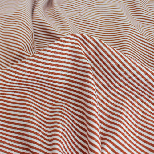 Micro Striped Bamboo & Organic Cotton Jersey Knit - Rust/White