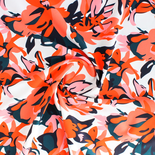 Bold Floral Nylon Swim Tricot - Pink/Orange/White | Blackbird Fabrics