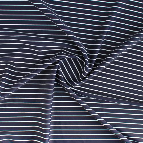 Pinstripe Nylon Swim Tricot - Navy/White | Blackbird Fabrics
