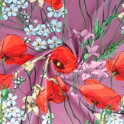 Sketched Floral Nylon Swim Tricot - Mauve/Red/Yellow | Blackbird Fabrics