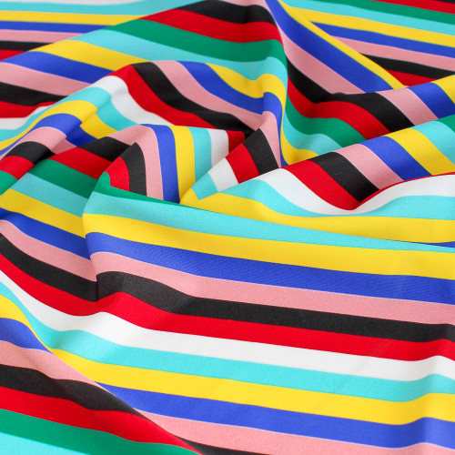 Striped Nylon Swim Tricot - Multicoloured | Blackbird Fabrics