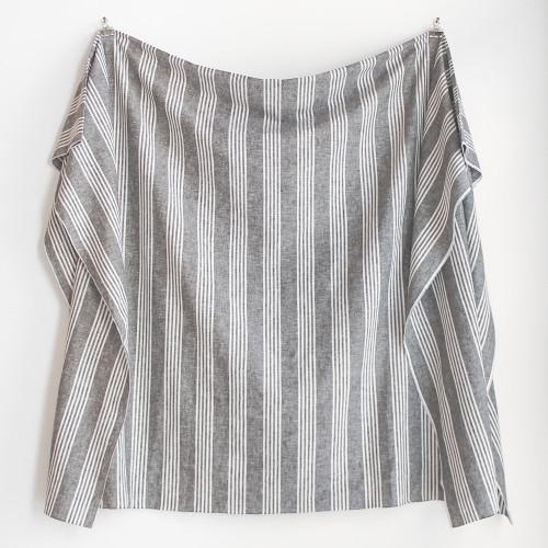 Striped Linen & Cotton Blend - Grey Chambray   Blackbird Fabrics