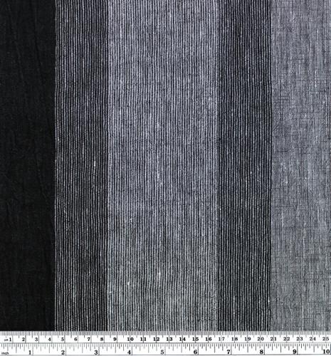 Wide Striped Crinkle Linen - Black/Grey | Blackbird Fabrics