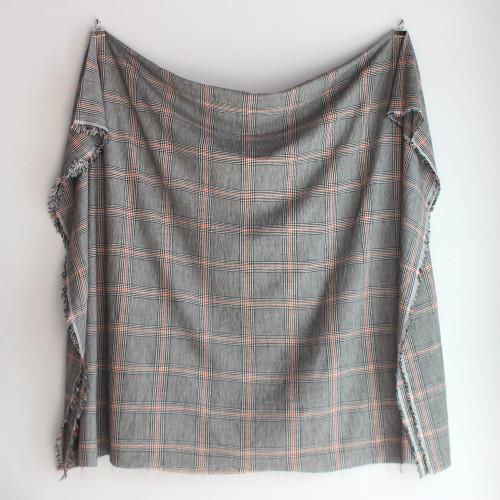 Rayon Linen Large Scale Plaid - Black/Orange | Blackbird Fabrics