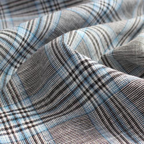 Rayon Linen Plaid - Black/Sky Blue | Blackbird Fabrics