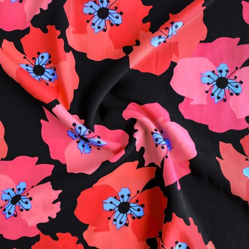 Bold Floral Viscose Poplin - Black/Red/Pink | Blackbird Fabrics