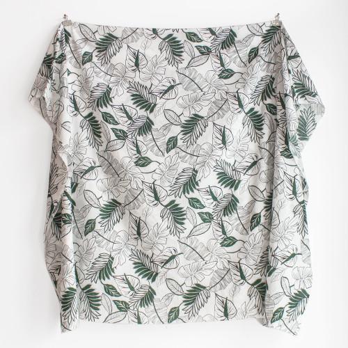 Tropical Leaf Rayon Cotton Voile - Green/White | Blackbird Fabrics