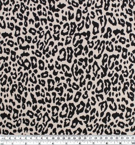 Leopard Print Viscose Crepe - Beige/Black | Blackbird Fabrics
