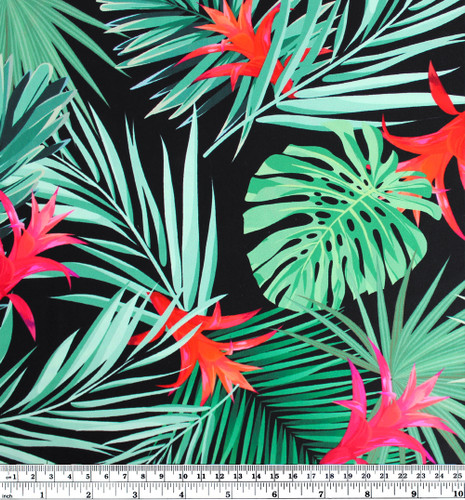 Tropical Nylon Swim Tricot - Black/Multi | Blackbird Fabrics
