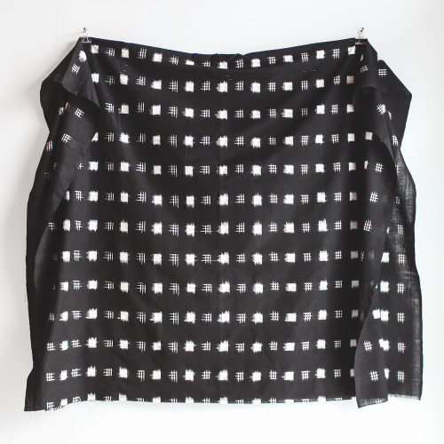 Large Square Cotton Ikat - Black/White | Blackbird Fabrics