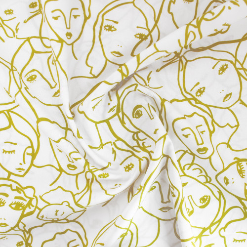 Crowded Faces Cotton Lawn - White/Chartreuse | Blackbird Fabrics