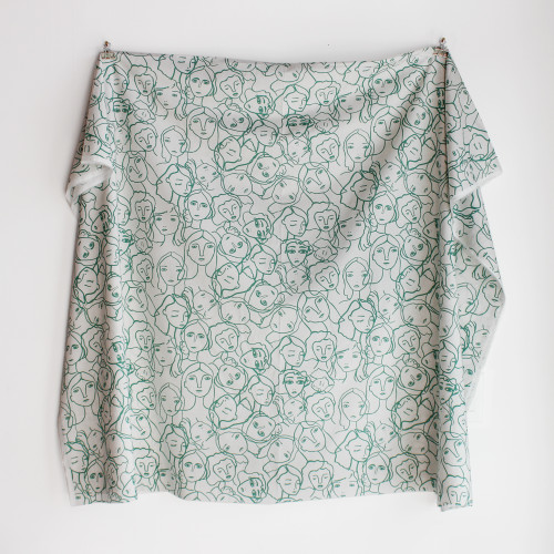 Crowded Faces Cotton Lawn - White/Viridian Green | Blackbird Fabrics