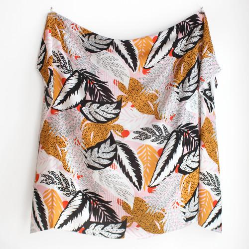 Abstract Leaf Rayon Voile - Pink/Mustard   Blackbird Fabrics