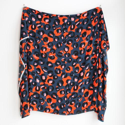 Abstract Leopard Print Polyester Crepe - Navy/Orange | Blackbird Fabrics
