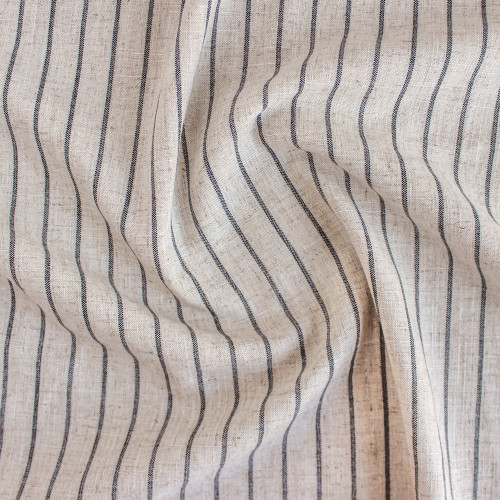 Striped Viscose Linen Noil - Natural | Blackbird Fabrics