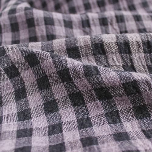 Gingham Linen Gauze - Wisteria/Midnight Navy | Blackbird Fabrics