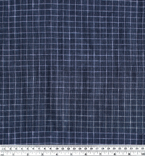 Check Lightweight Linen Gauze - Navy/White   Blackbird Fabrics