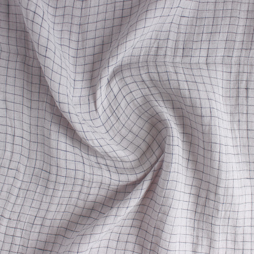 Check Lightweight Linen Gauze - Dove/Navy | Blackbird Fabrics