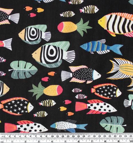Fish Print Rayon Slub - Black/Multi | Blackbird Fabrics