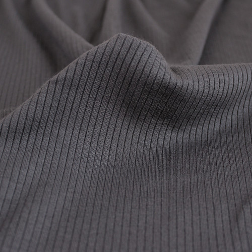 Light Weight Modal Rib Knit - Charcoal | Blackbird Fabrics